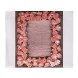 pink ribbon roses and leaves satin photo frame by