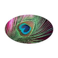 Magenta Peacock Oval Car Magnet