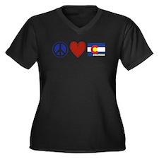 Peace Love Colorado Women's Plus Size V-Neck Dark