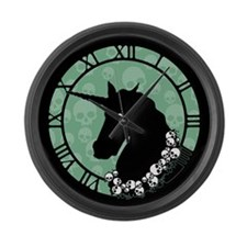 Unicorn With Skulls Large Wall Clock