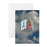 Teal Ribbon Greeting Cards (Pack of 6)