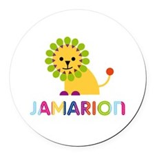 Jamarion Loves Lions Round Car Magnet