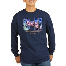 9-11 Never Forget Long Slv Dark T-Shirt