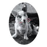 Corgi Candy Cane Oval Ornament