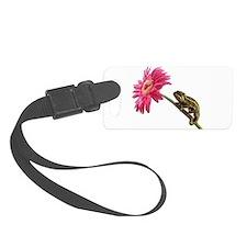 Chameleon Lizard on pink flower Luggage Tag