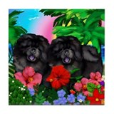 BLACK CHOW CHOW DOGS PARADISE Tile Coaster