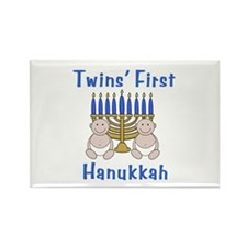Twins' First Hanukkah Rectangle Magnet