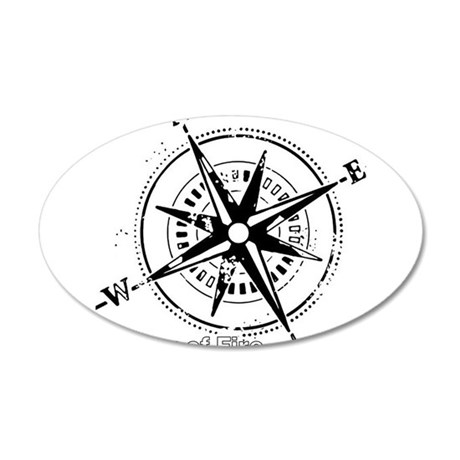 Ring of Fire Graphic Compass Wall Decal