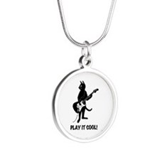 Cat Plays the Guitar Silver Round Necklace