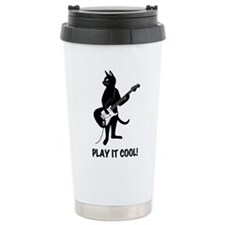 Cat Plays the Guitar Ceramic Travel Mug
