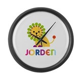 Jorden Loves Lions Large Wall Clock