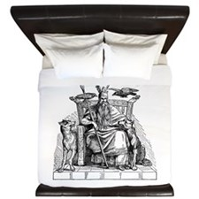 Odin with Ravens and Wolves King Duvet