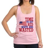 RED WHITE AND WASTED Racerback Tank Top