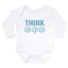 Think Snow Blue Long Sleeve Infant Bodysuit