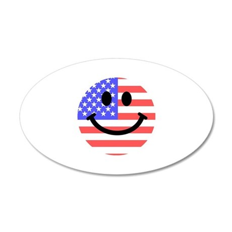 American Flag Smiley Face Wall Sticker