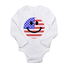 American Flag Smiley Face Body Suit