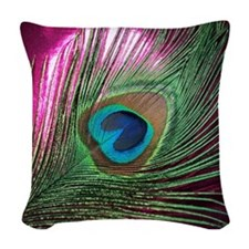 Magenta Peacock Woven Throw Pillow