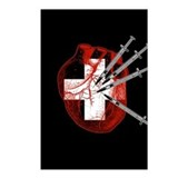 Medical Needle Stabbed Heart Postcards (Package of