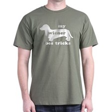 Wiener Tricks Military Green T-Shirt