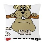 I Love Beavers Woven Throw Pillow