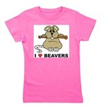 I Love Beavers Girl's Tee