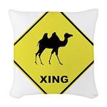 Camel Crossing Woven Throw Pillow