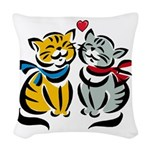 Cats In Love Woven Throw Pillow