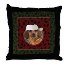 Merry Dachshund Throw Pillow
