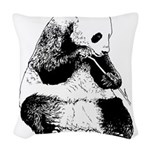 Hand Sketched Panda Woven Throw Pillow