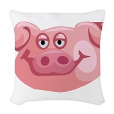 Happy Pig Woven Throw Pillow