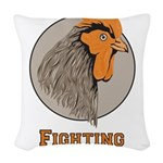 Fighting Cocks Woven Throw Pillow