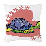 Heart Turtle Woven Throw Pillow