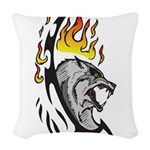 Flaming Wolf Tattoo Woven Throw Pillow