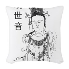 Vintage Guan Yin Woven Throw Pillow