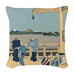 Hokusai Sazai Hall Woven Throw Pillow