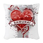 Heart Samurai Woven Throw Pillow