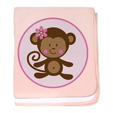 Cute Monkey Girl baby blanket