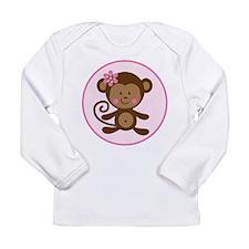 Cute Monkey Girl Long Sleeve Infant T-Shirt