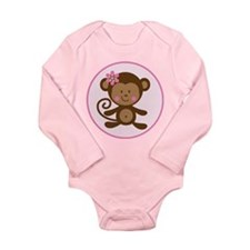 Cute Monkey Girl Long Sleeve Infant Bodysuit