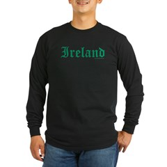 Ireland (Old Text) - Lg Sleeve Black T-Shirt