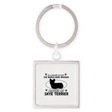 Skye Terrier dog funny designs Square Keychain