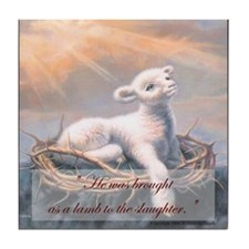 """Behold the Lamb of God"" Fine Art Tile Coaster"
