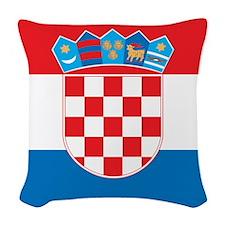 Croatia Flag Woven Throw Pillow