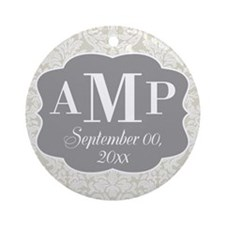 Lace Monogram Wedding - beige gray Ornament (Round