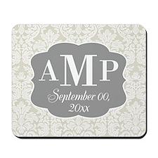 Lace Monogram Wedding - beige gray Mousepad