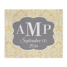 Lace Monogram Wedding - yellow gray Throw Blanket