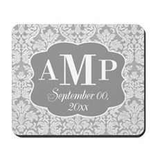 Lace Monogram Wedding - gray Mousepad