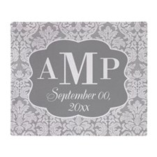 Lace Monogram Wedding - gray Throw Blanket