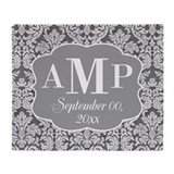 Lace Monogram Wedding - black white Throw Blanket