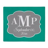Modern Wedding Monogram - teal Throw Blanket